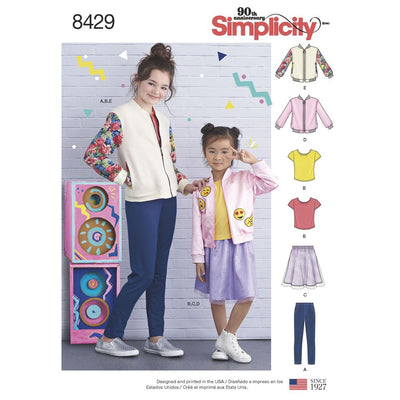 Simplicity Pattern 8429 Childs and Girls Bomber Jacket Skirt Leggings and Top Image 1 From Patternsandplains.com