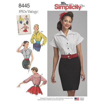 Simplicity Pattern 8445 Womens Vintage Blouses and Cummerbund Image 1 From Patternsandplains.com