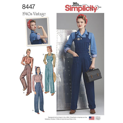 Simplicity Pattern 8447 Womens Vintage Trousers Overalls and Blouses Image 1 From Patternsandplains.com