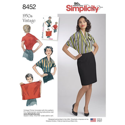 Simplicity Pattern 8452 Womens Vintage Knit Blouse Image 1 From Patternsandplains.com