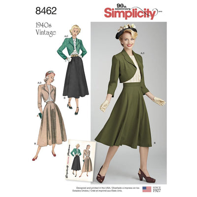 Simplicity Pattern 8462 Womens Vintage Blouse Skirt and Lined Bolero Image 1 From Patternsandplains.com