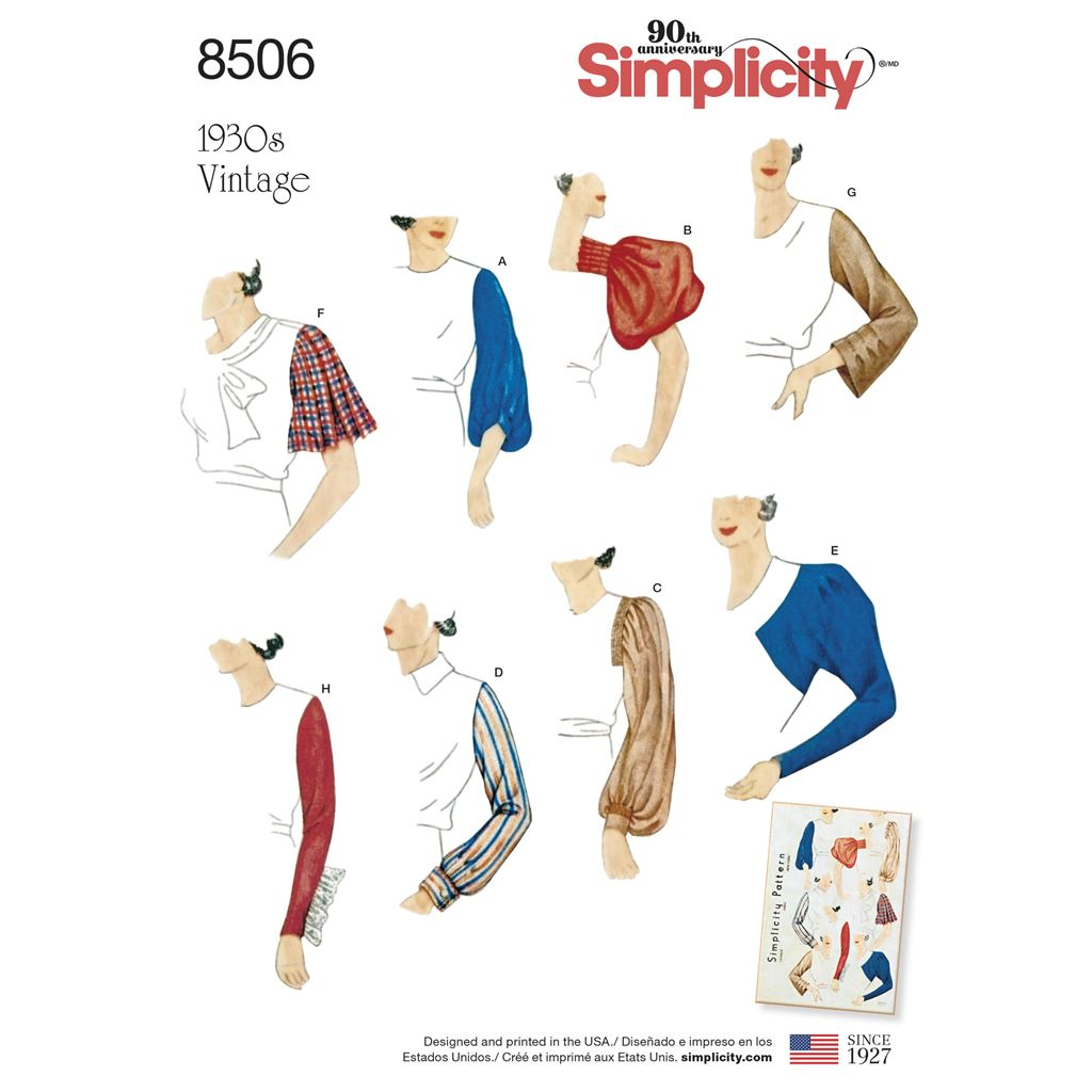 Simplicity Pattern 8506 Misses Vintage Set of Sleeves Image 1 From Patternsandplains.com