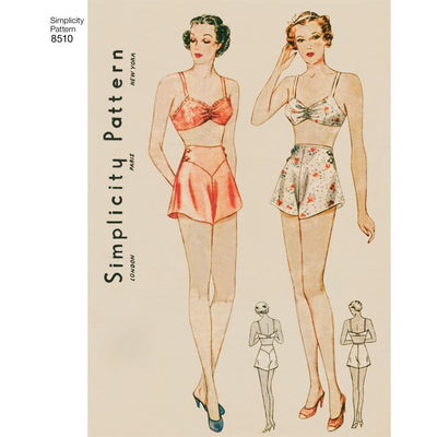 Simplicity Pattern 8510 Miss Vintage Brassiere and Panties Image 1 From Patternsandplains.com