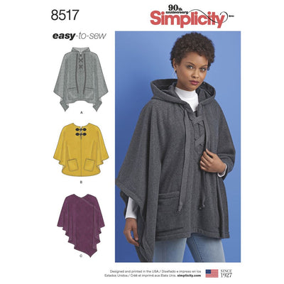 Simplicity Pattern 8517 Misses Set of Ponchos Image 1 From Patternsandplains.com