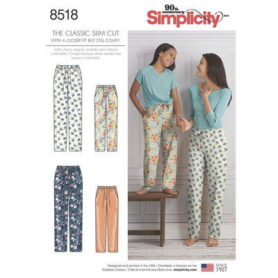 Simplicity Pattern 8518 Girls and Misses Slim Fit Lounge Trousers Image 1 From Patternsandplains.com