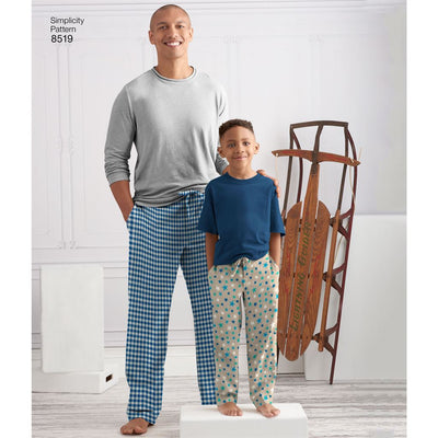 Simplicity Pattern 8519 Boys and Mens Slim Fit Lounge Trousers Image 1 From Patternsandplains.com