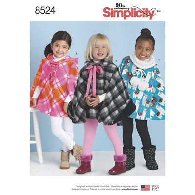 Simplicity Pattern 8524 Childs Poncho Image 1 From Patternsandplains.com
