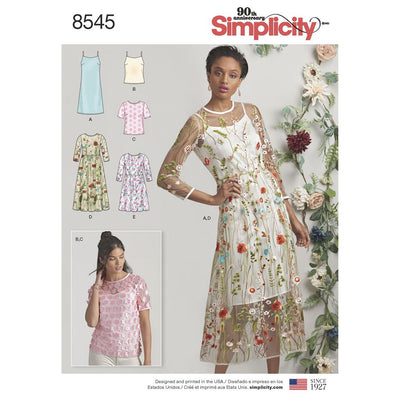 Simplicity Pattern 8545 Womens Petite Womens Dress and Top Image 1 From Patternsandplains.com