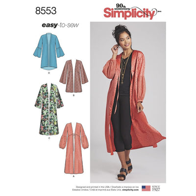 Simplicity Pattern 8553 Womens Kimonos Image 1 From Patternsandplains.com