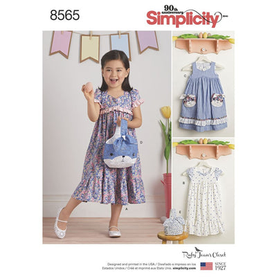 Simplicity Pattern 8565 Childs Ruby Jeans Dresses and Purses Image 1 From Patternsandplains.com