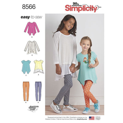 Simplicity Pattern 8566 Childs and Girls Tunics and Leggings Image 1 From Patternsandplains.com