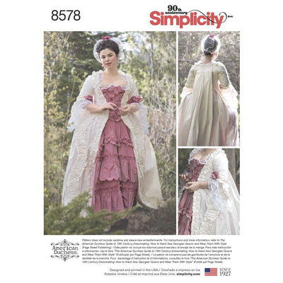 Simplicity Pattern 8578  Womens 18th Century Gown Image 1 From Patternsandplains.com