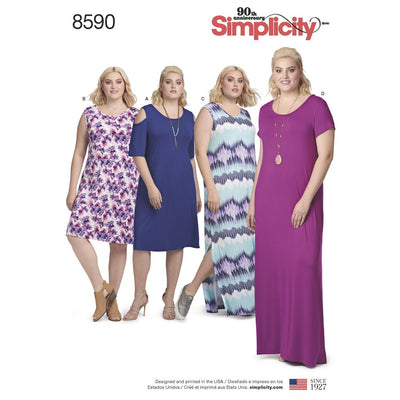 Simplicity Pattern 8590 Womens Knit Dresses Image 1 From Patternsandplains.com