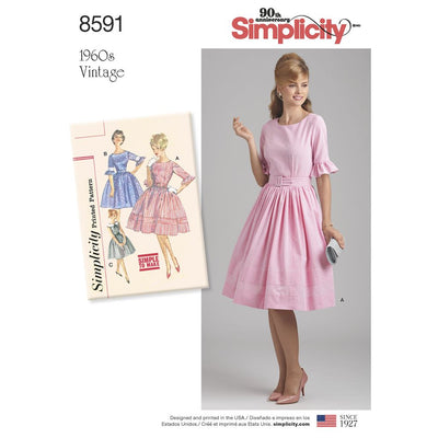 Simplicity Pattern 8591 Womens Petite Womens Vintage Dress Image 1 From Patternsandplains.com