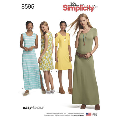 Simplicity Pattern 8595 Womens Knit Dresses Image 1 From Patternsandplains.com