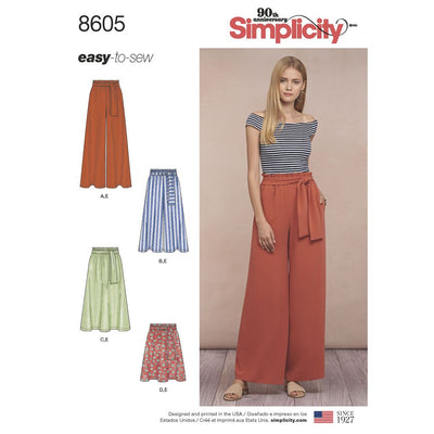 Simplicity Pattern 8605 Womens Pull on Skirt and Pants Image 1 From Patternsandplains.com