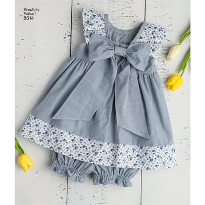 Simplicity Pattern 8614 Babies Dress Romper and Panties Image 1 From Patternsandplains.com