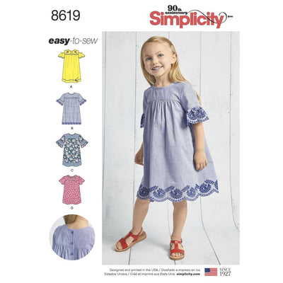 Simplicity Pattern 8619 Childs Easy to Sew Dresses Image 1 From Patternsandplains.com