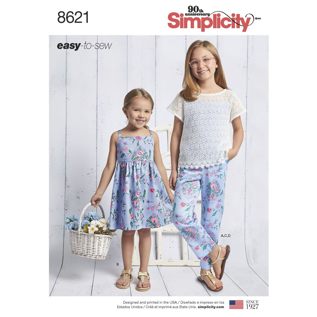Simplicity Pattern 8621 Childs and Girls Dress Top Pants and Camisole Image 1 From Patternsandplains.com