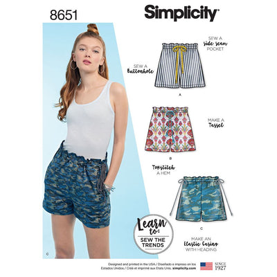 Simplicity Pattern 8651 Learn to Sew Pull on Shorts Image 1 From Patternsandplains.com