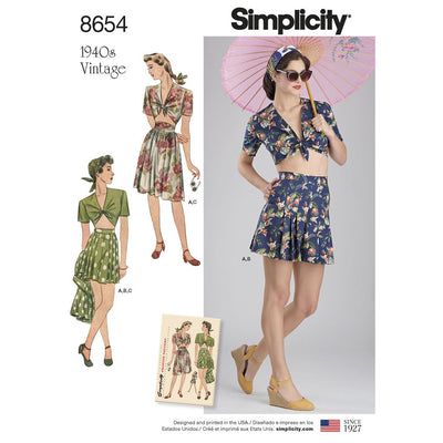 Simplicity Pattern 8654 Womens Vintage Skirt Shorts and Tie Top Image 1 From Patternsandplains.com