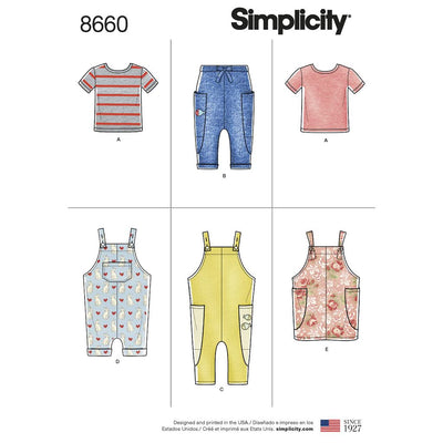 Simplicity Pattern 8660 Toddlers Knit Top Trousers Jumper and Overalls Image 1 From Patternsandplains.com