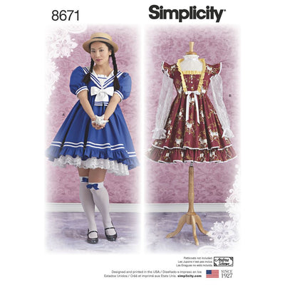 Simplicity Pattern 8671 Womens Lolita Costume Dresses Image 1 From Patternsandplains.com