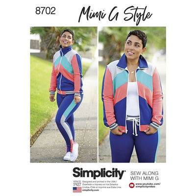 Simplicity Pattern 8702 Mimi G Womens Knit Jacket Pant and Leggings Image 1 From Patternsandplains.com