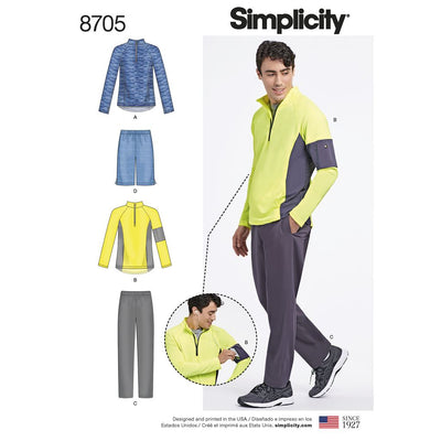 Simplicity Pattern 8705 Mens Trousers or Shorts and Knit Pullover Top Image 1 From Patternsandplains.com