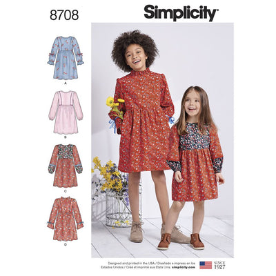 Simplicity Pattern 8708 Childs and Girls Dress with Sleeve Variations Image 1 From Patternsandplains.com