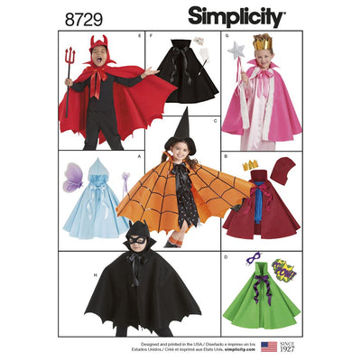 Simplicity Pattern 8729 Childs Cape Costumes Image 1 From Patternsandplains.com