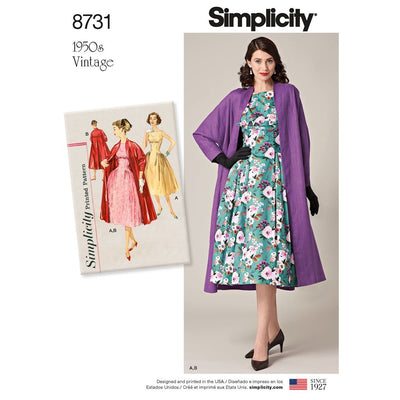 Simplicity Pattern 8731 Womens Vintage Dress and Lined Coat Image 1 From Patternsandplains.com