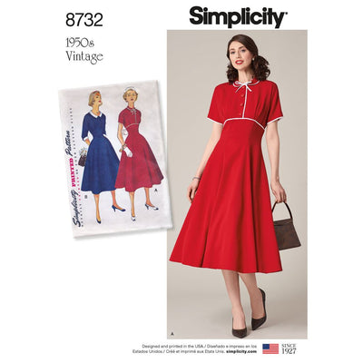 Simplicity Pattern 8732 Womens Vintage Dress Image 1 From Patternsandplains.com