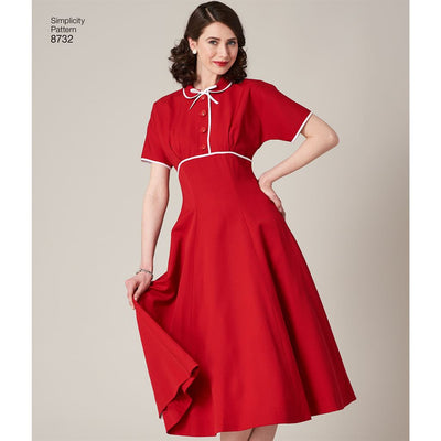 Simplicity Pattern 8732 Womens Vintage Dress Image 5 From Patternsandplains.com
