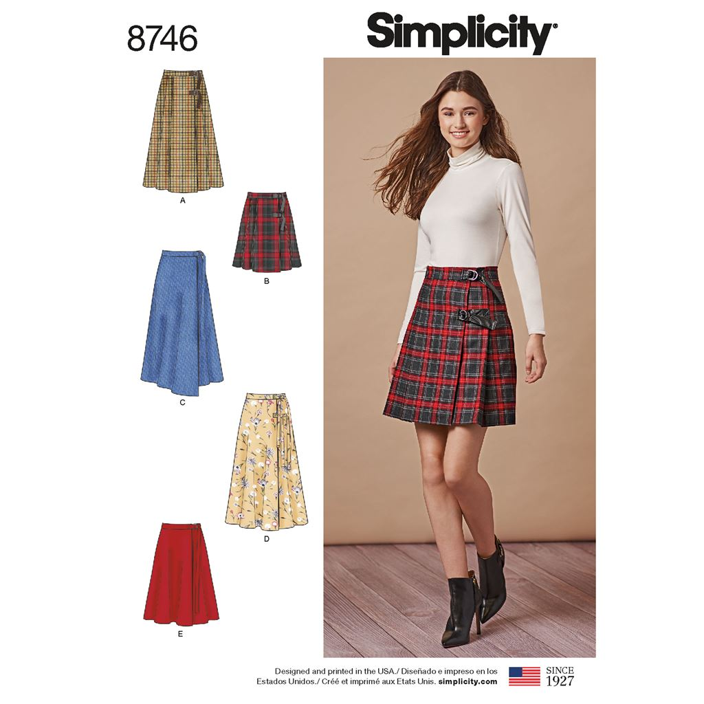 Simplicity Pattern 8746 Womens Wrap Skirts Image 1 From Patternsandplains.com