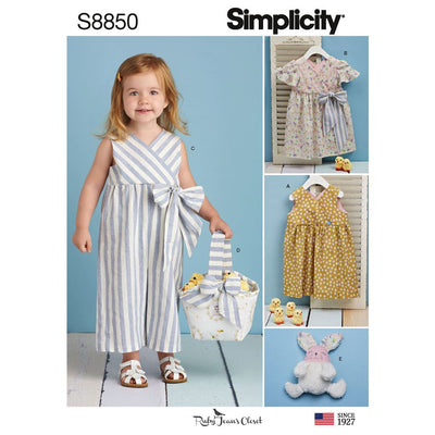 Simplicity Pattern S8850 Toddlers Dress Jumpsuit Basket and Toy 8850 Image 1 From Patternsandplains.com