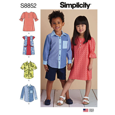 Simplicity Pattern S8852 Childs Dresses and Shirt 8852 Image 1 From Patternsandplains.com