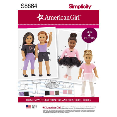 Simplicity Pattern S8864 American Girl 18 Doll Clothes 8864 Image 1 From Patternsandplains.com