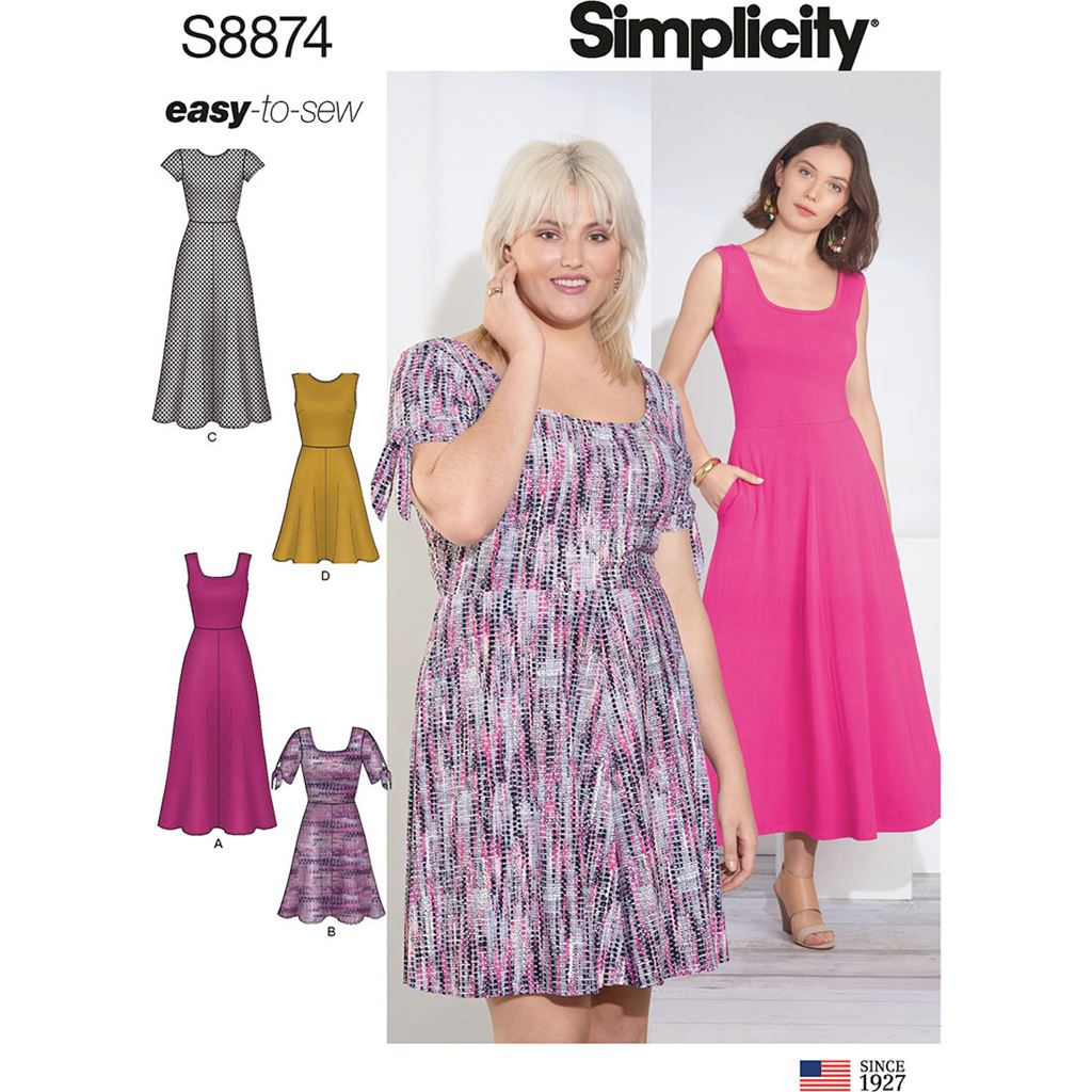Simplicity Sewing Pattern S8874 Misses Womens Knit Dress 8874 Image 1 From Patternsandplains.com
