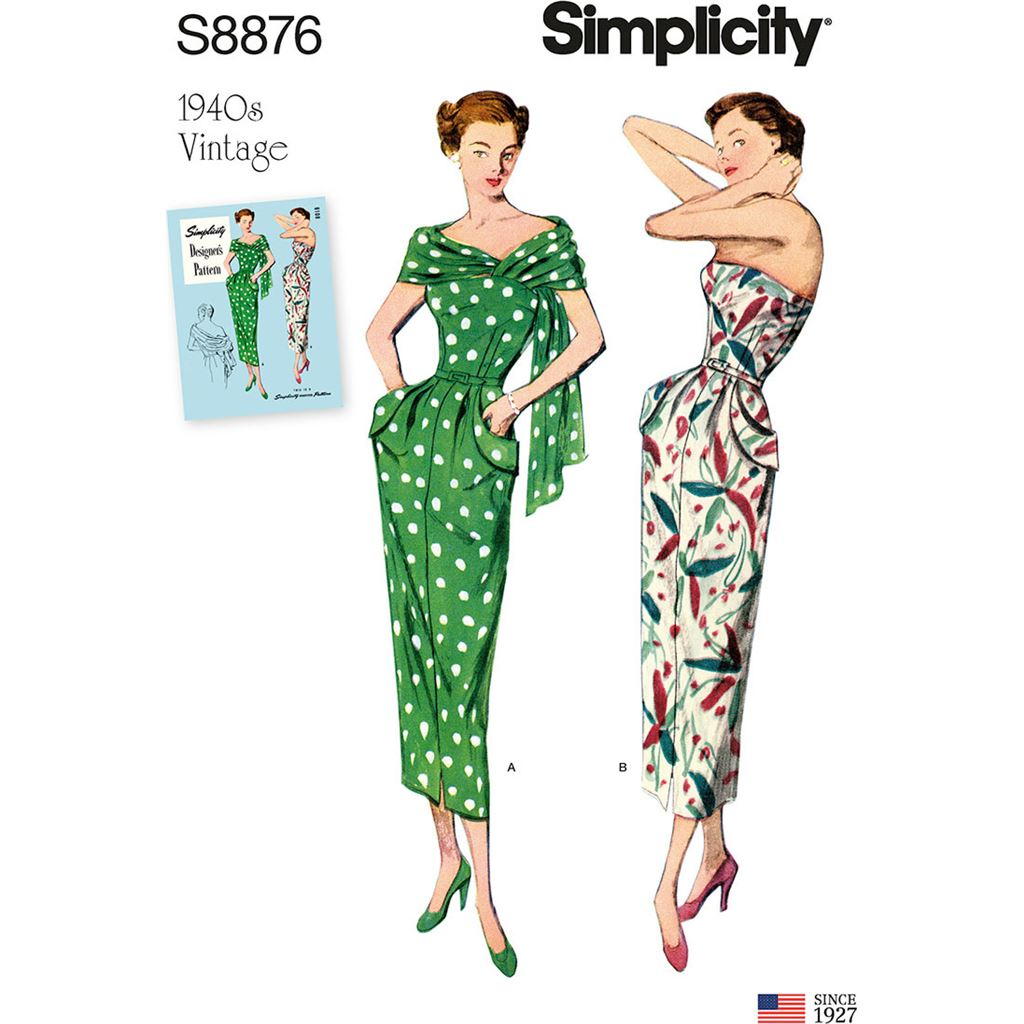 Simplicity Sewing Pattern S8876 Misses Womens Vintage Dress and Stole 8876 Image 1 From Patternsandplains.com