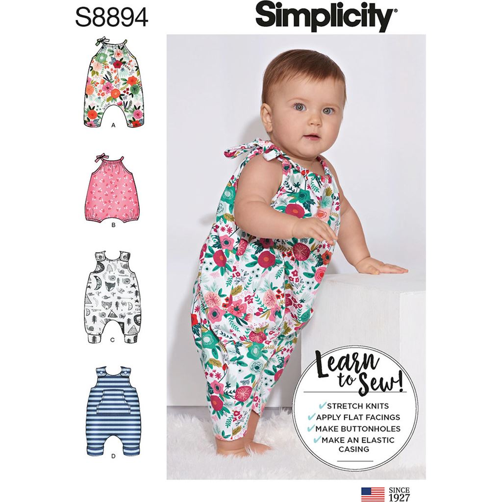 Simplicity Sewing Pattern S8894 Babies Knit Romper 8894 Image 1 From Patternsandplains.com