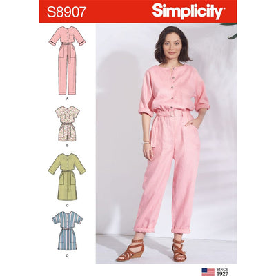 Simplicity Sewing Pattern S8907 Misses Jumpsuit Romper Dresses and Belt 8907 Image 1 From Patternsandplains.com