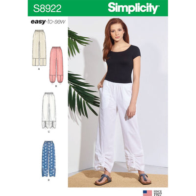 Simplicity Sewing Pattern S8922 Misses Pull On Pants 8922 Image 1 From Patternsandplains.com