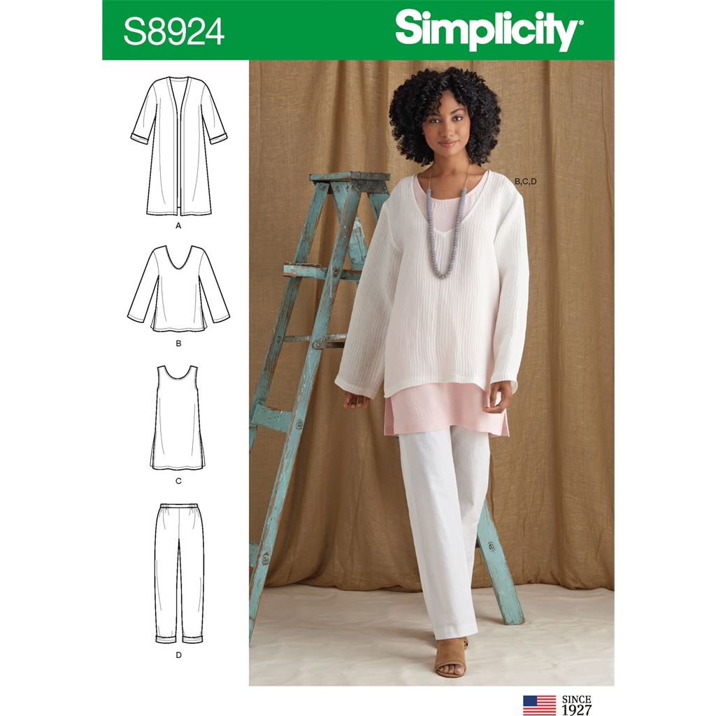 Simplicity Sewing Pattern S8924 Misses Jacket Top Tunic and Pull On Pants 8924 Image 1 From Patternsandplains.com