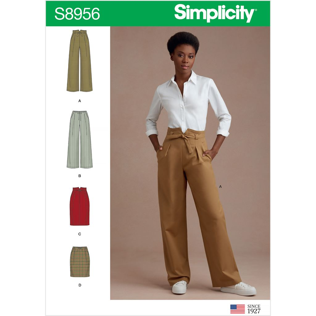 Simplicity Sewing Pattern S8956 Misses Pants and Skirts 8956 Image 1 From Patternsandplains.com