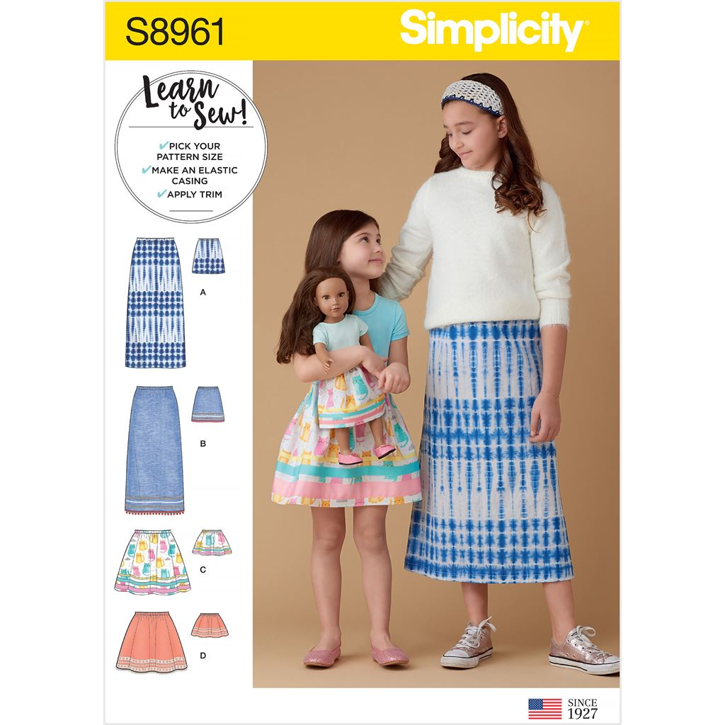 Simplicity Sewing Pattern S8961 Childrens Girls and Dolls Skirts 8961 Image 1 From Patternsandplains.com