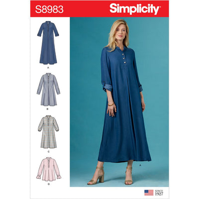 Simplicity Sewing Pattern S8983 Misses Dresses with Sleeve Variation 8983 Image 1 From Patternsandplains.com
