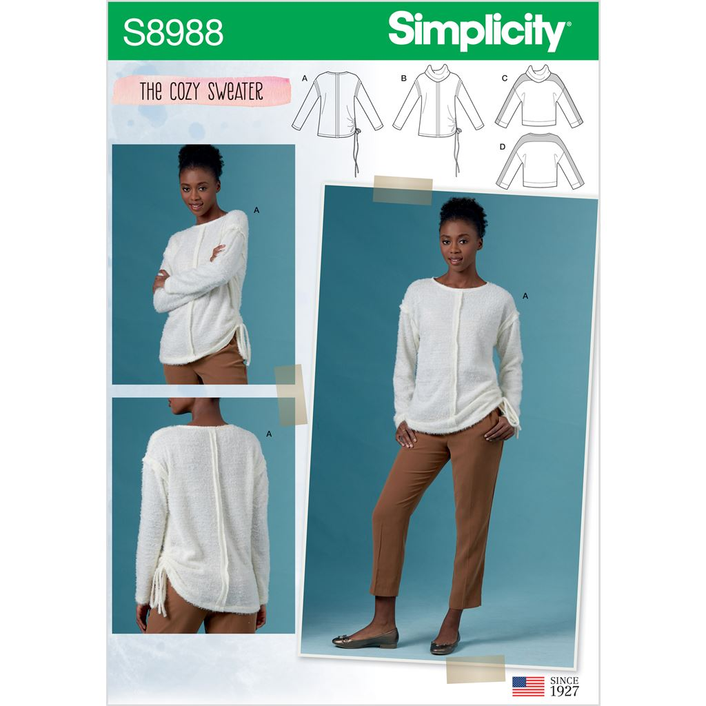 Simplicity Sewing Pattern S8988 Misses Cozy Knit Tops 8988 Image 1 From Patternsandplains.com