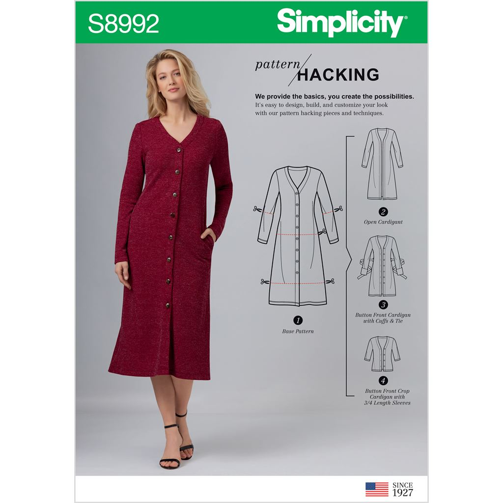 Simplicity Sewing Pattern S8992 Misses Sweater Dress and Cardigans with Pattern Hacking Options 8992 Image 1 From Patternsandplains.com