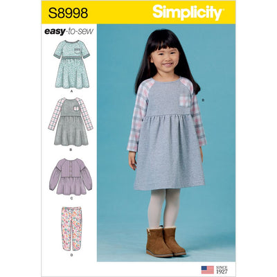Simplicity Sewing Pattern S8998 Childrens Easy To Sew Sportswear Dress Top Pants 8998 Image 1 From Patternsandplains.com